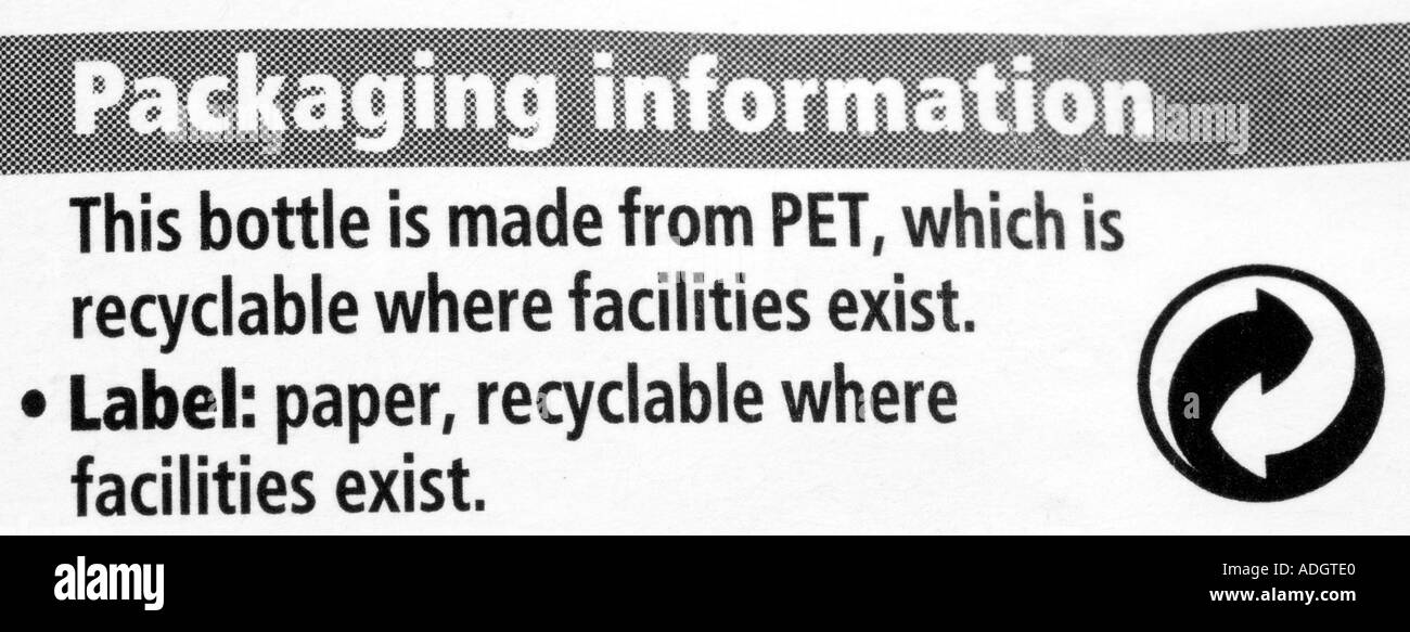 Recycling Instruction Label From Plastic Bottle Stock Photo 4380895