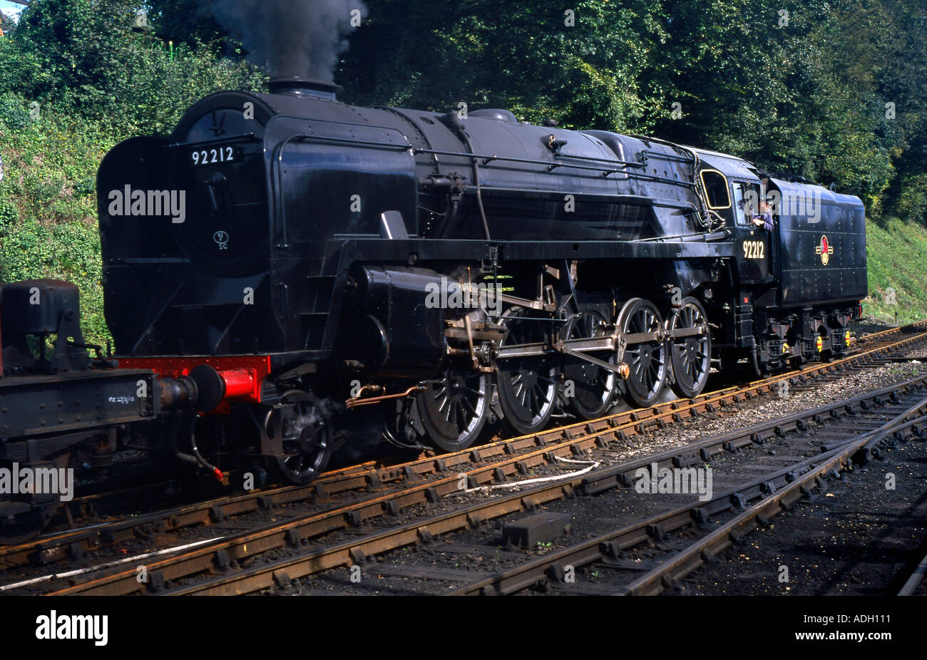 9F class heavy freight steam locomotive at Ropley on the Mid Hants Railway September 2004 - Stock Image