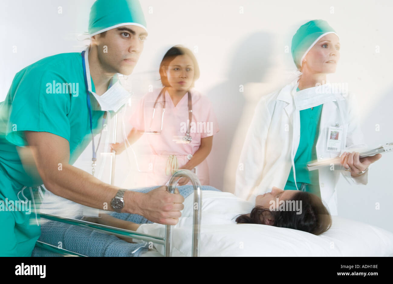 Medical staff responding to an emergency - Stock Image
