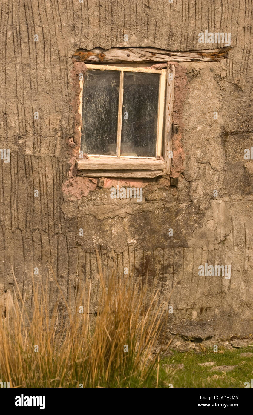 Window in the traditional house in Lewis, Outer Hebrides, Scotland, UK - Stock Image