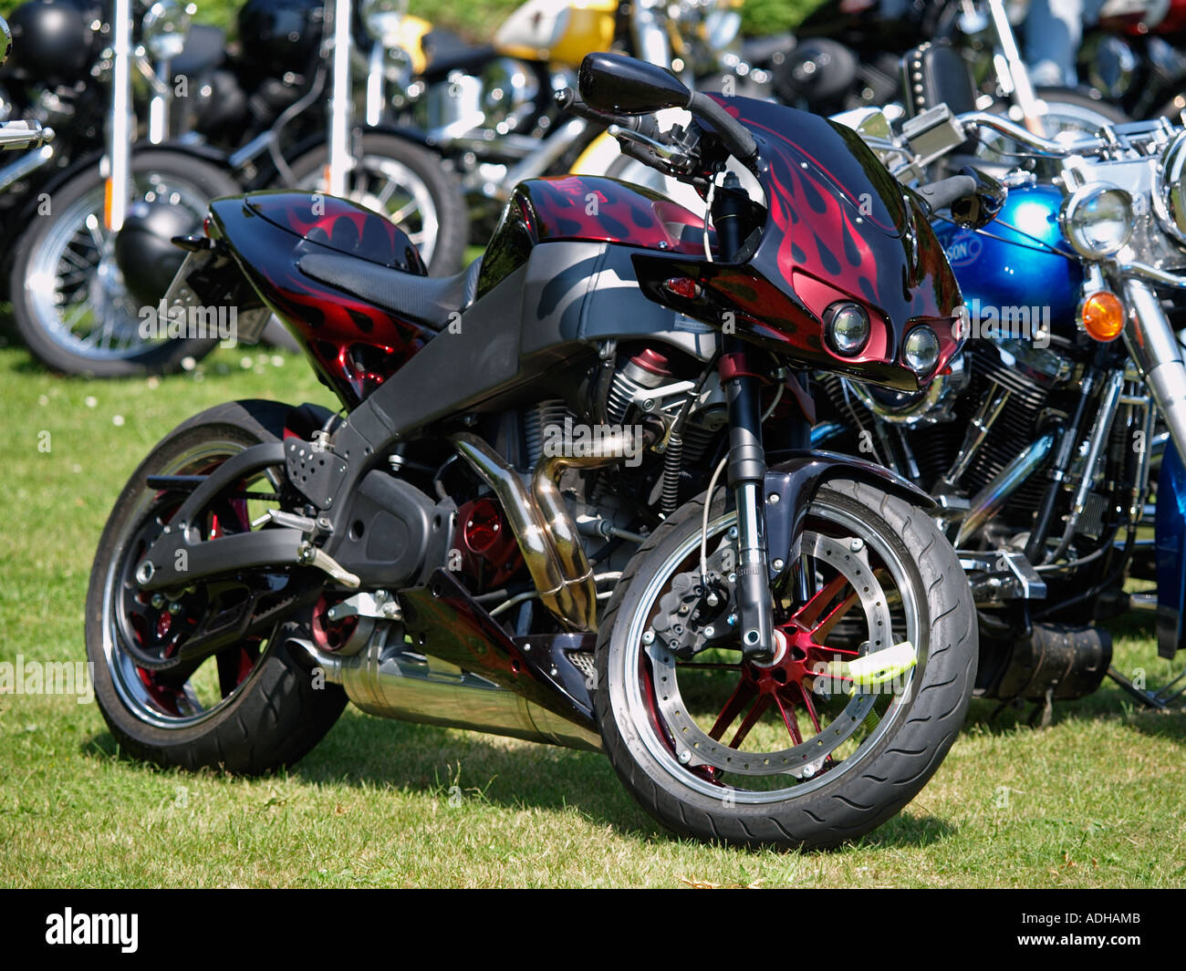 Black With Red Flames Paintjob Customized Buell Harley Davidson Engined Sports Motorcycle Breda The Netherlands
