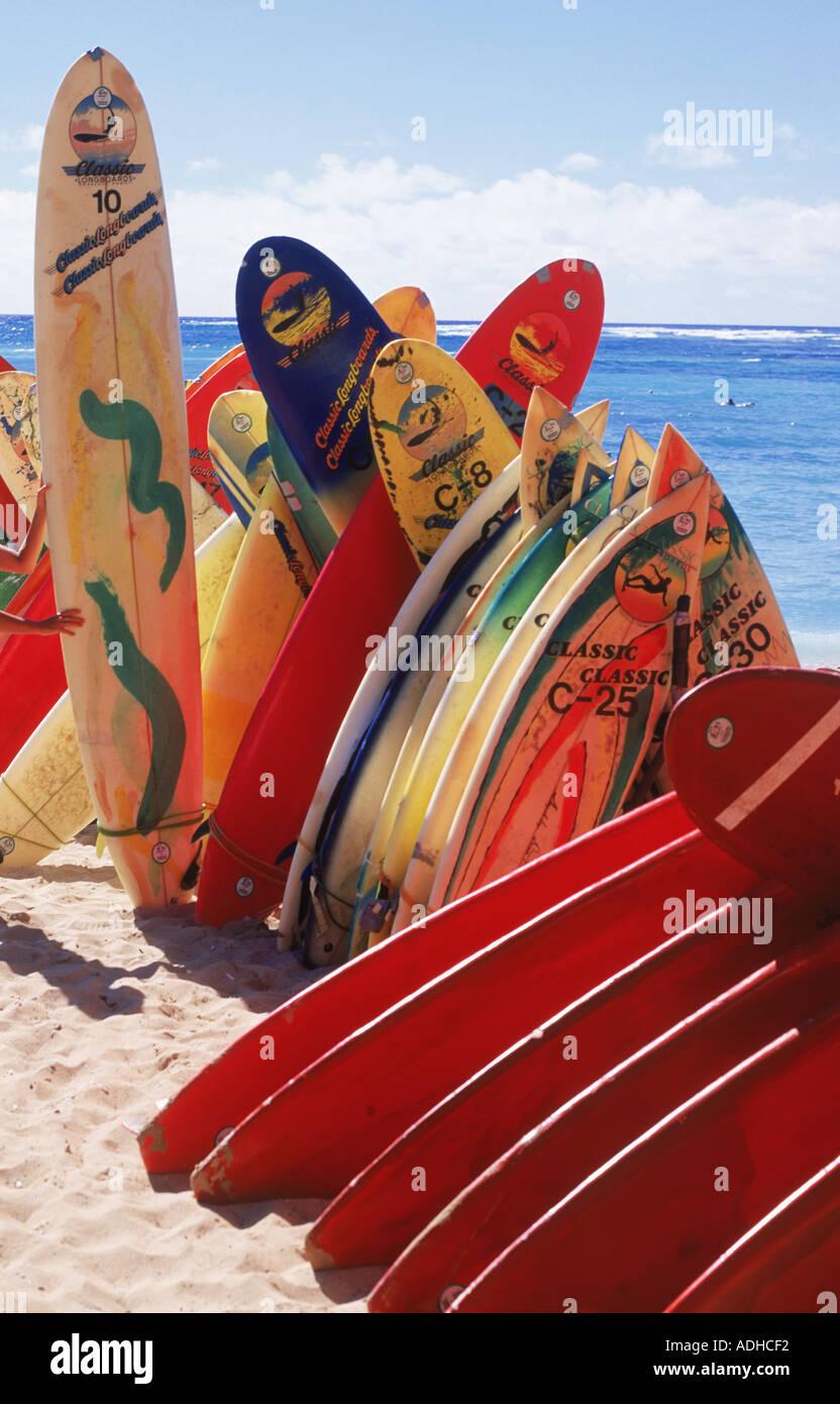 Surfboards stacked at Waikiki Beach - Stock Image