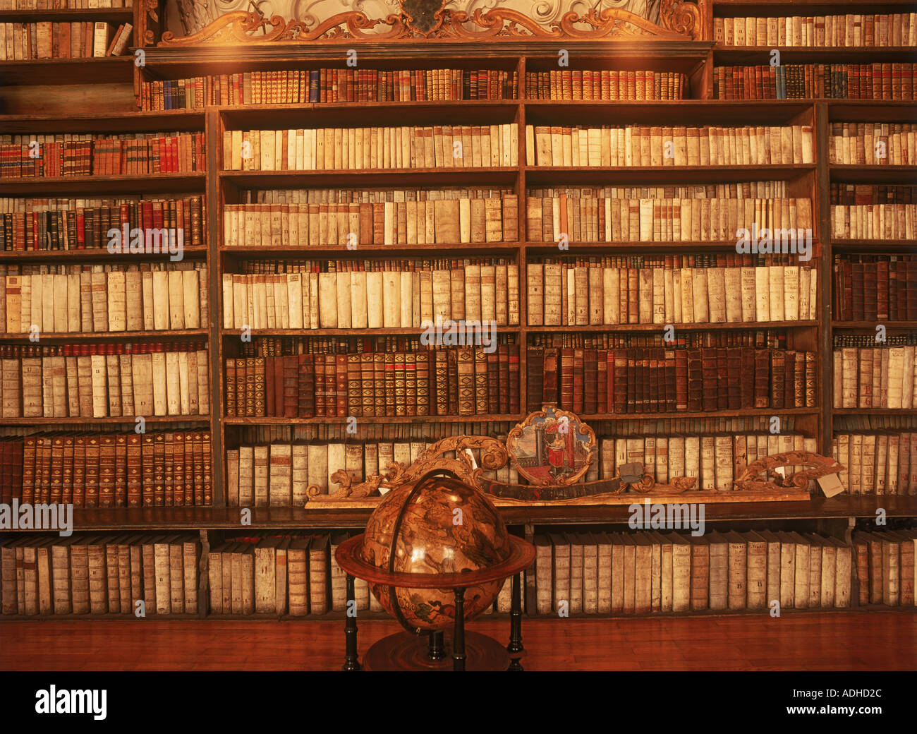 Theological Hall of Strahov Library from 1671 in Prague - Stock Image