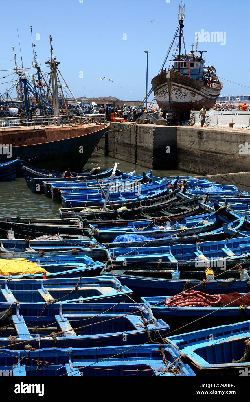 Fishing boats and craft in the harbour of Essaouira Morocco - Stock Image