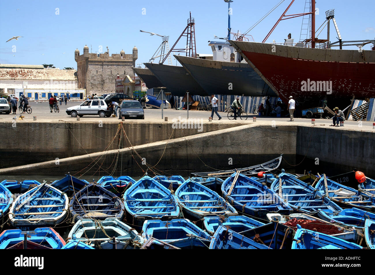 Fishing gear by Turret Sqala du Port on ramparts by port of Essaouira Morocco - Stock Image
