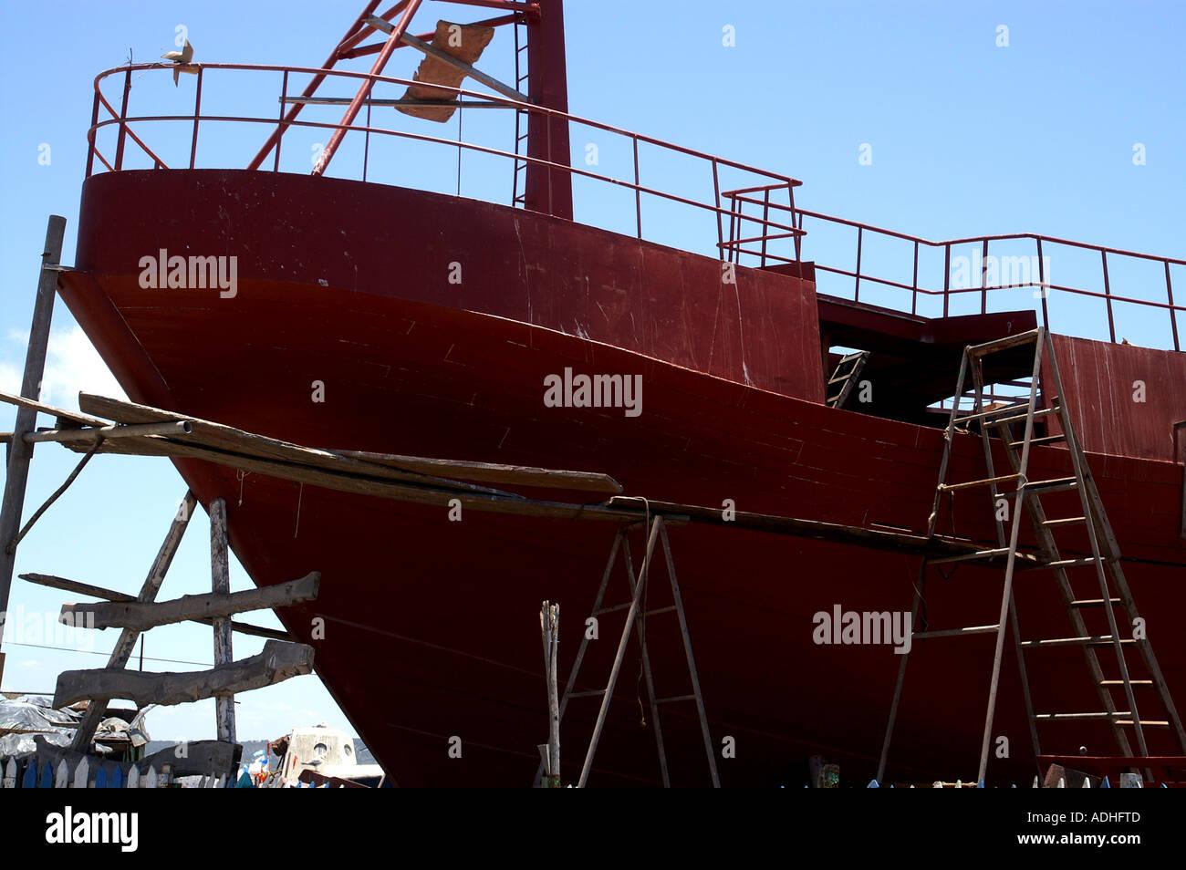 Shipbuilding in port of Essaouira Morocco - Stock Image