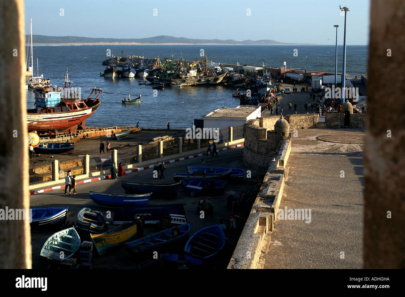 Fishing boats and craft from Turret Sqala du Port harbour Essaouira Morocco - Stock Image