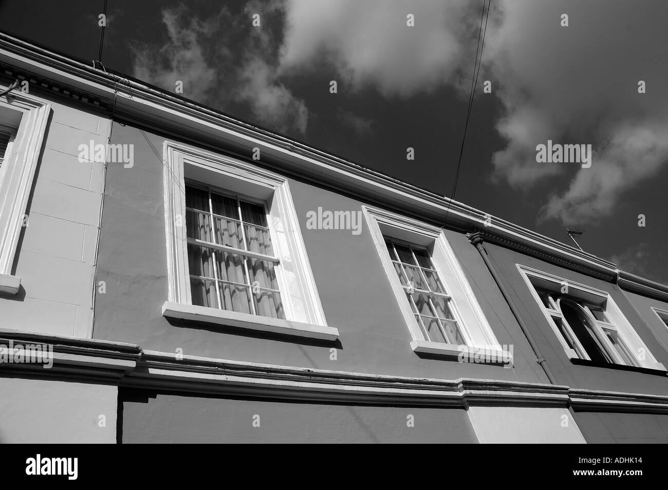 A row of Georgioan English homes in Notting Hill London - Stock Image