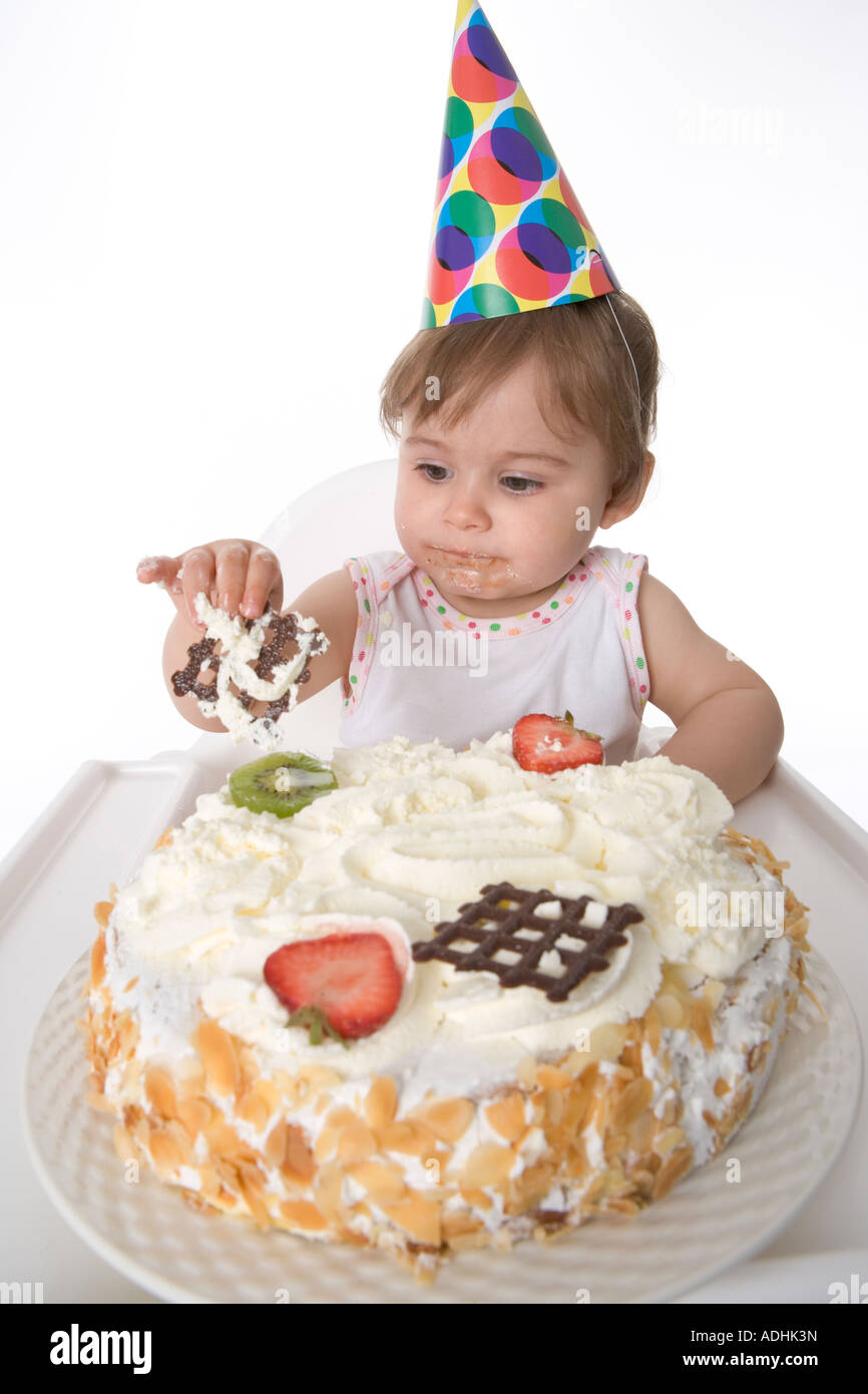 Remarkable One Year Old Baby Girl Eating From Her Birthday Cake Stock Photo Personalised Birthday Cards Petedlily Jamesorg
