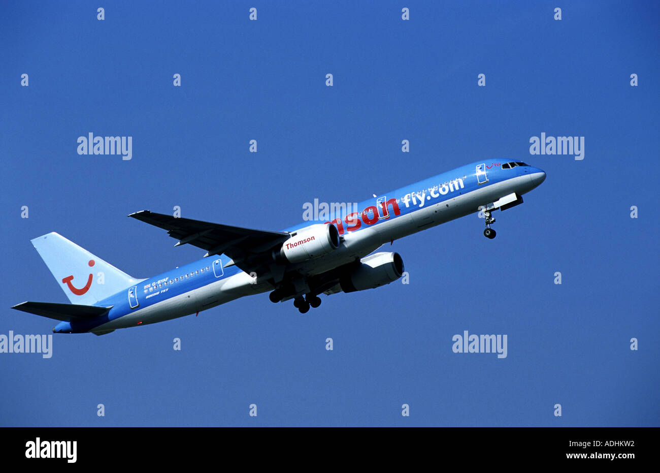 Thomson Boeing 757 aircraft taking off from Birmingham International Airport, West Midlands, England, UK Stock Photo