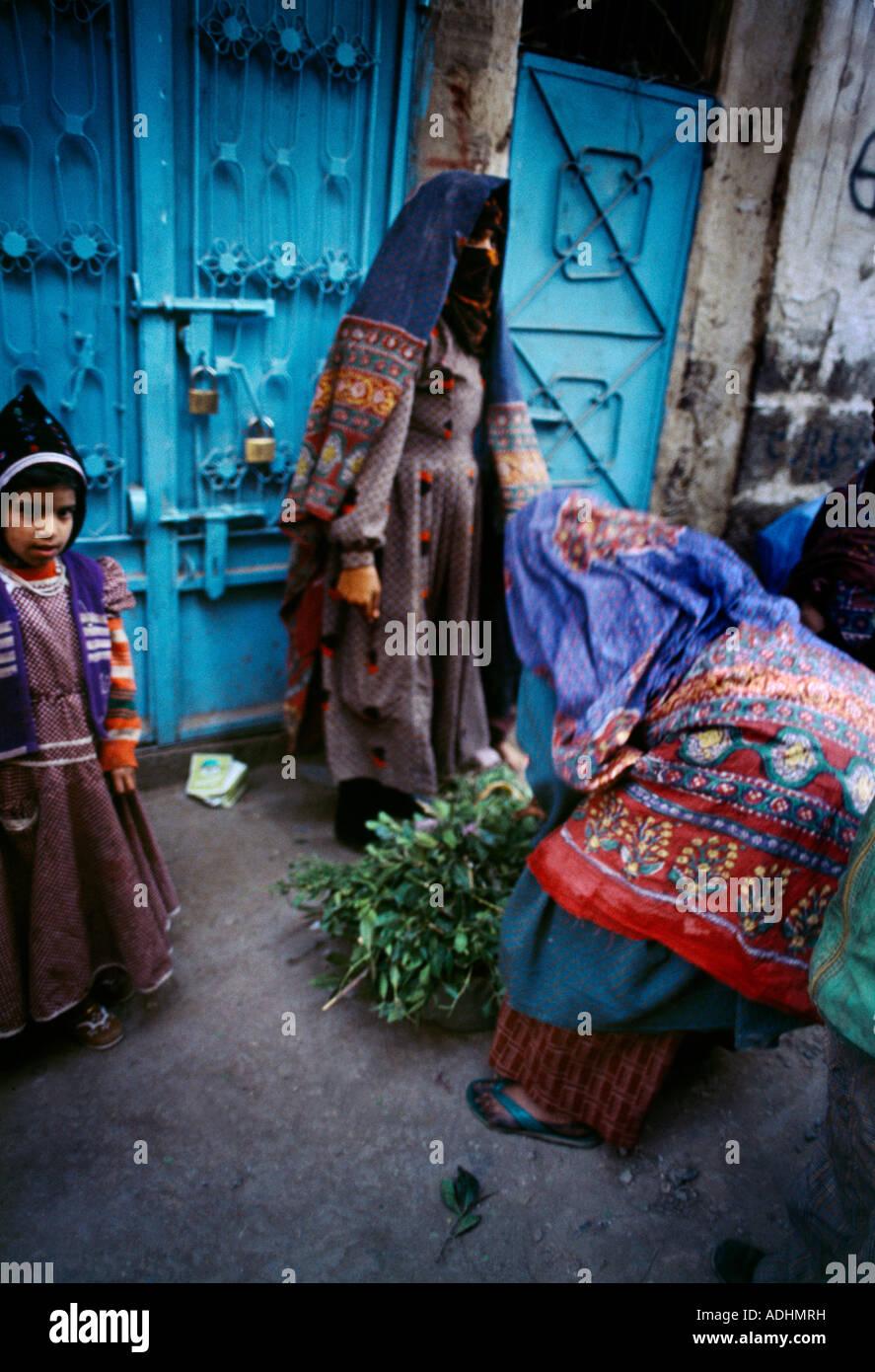 Sana'a Yemen Women In Souk - Stock Image