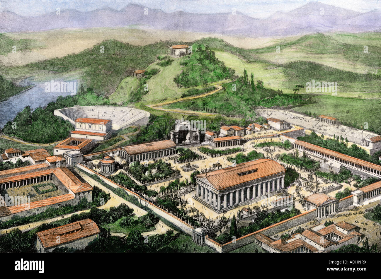 Olympia site of the ancient Greek Olympic Games. Hand-colored halftone of an illustration - Stock Image