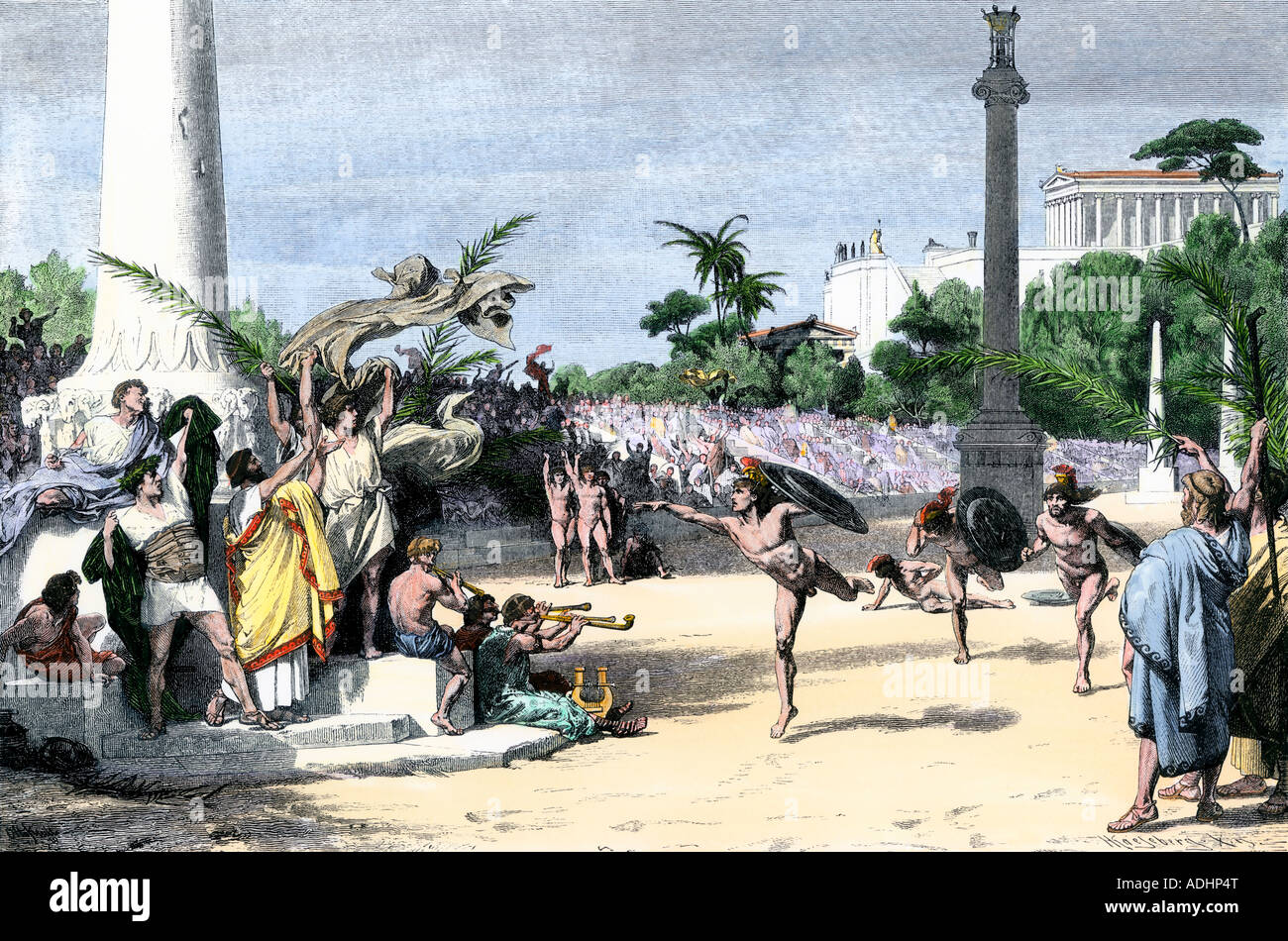 Racers cheered at the finish in the Olympic Games in ancient Greece. Hand-colored woodcut - Stock Image
