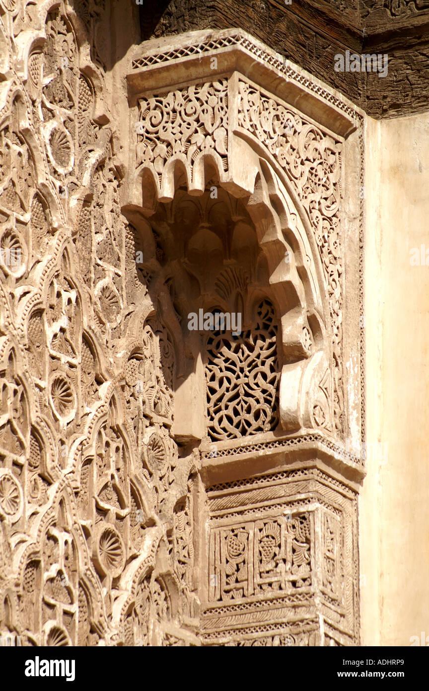 Ornate plasterwork Ben Youssef Medersa Koranic school