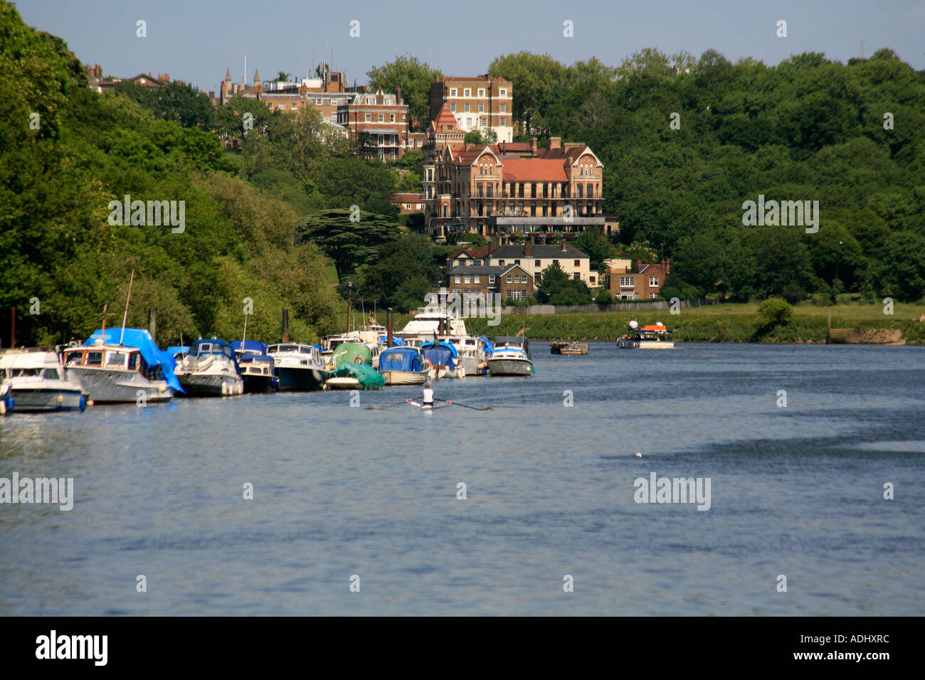 River Thames at Richmond London with Petersham Hotel overlooking the  view. - Stock Image