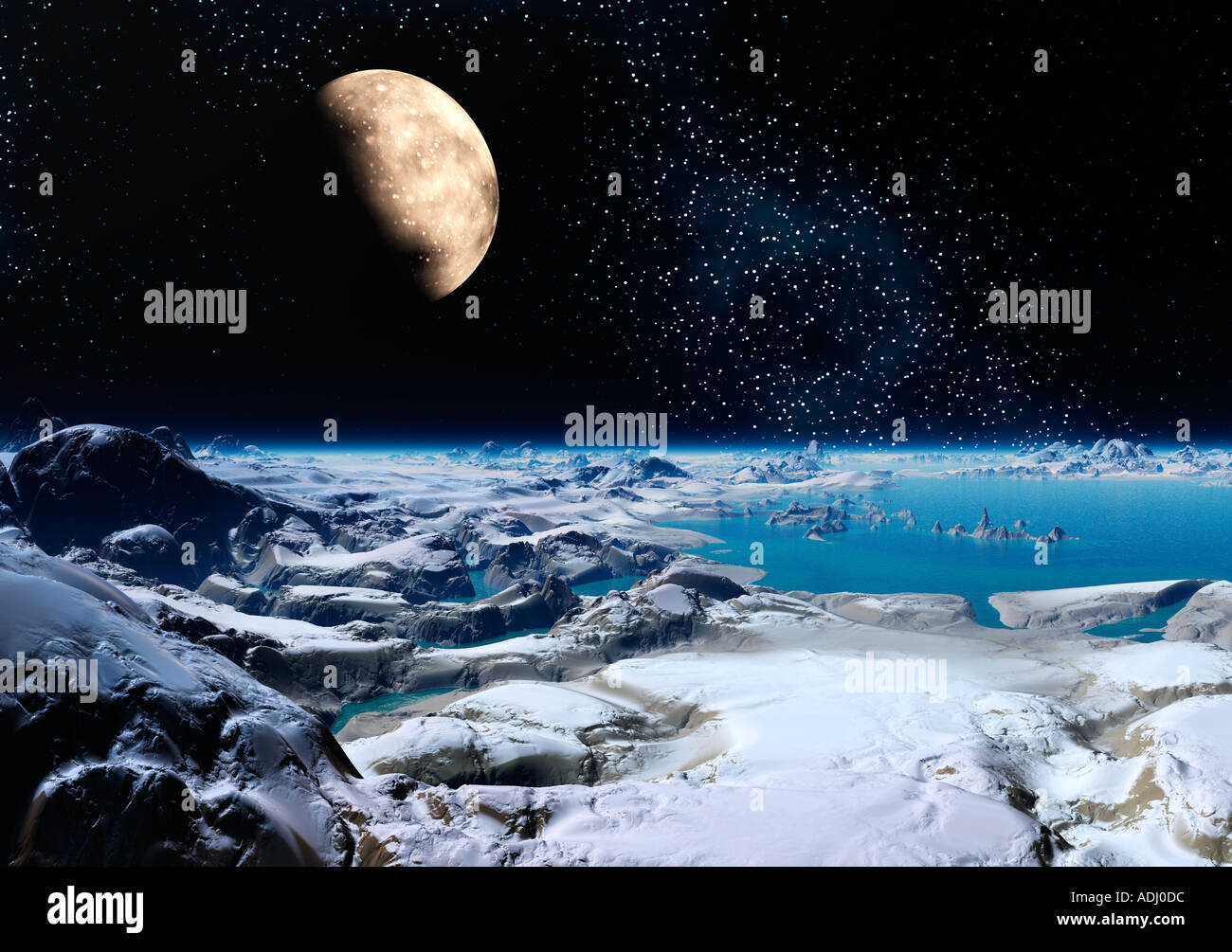 Moon rising over ice planet at night 3d computer generated sci fi world - Stock Image
