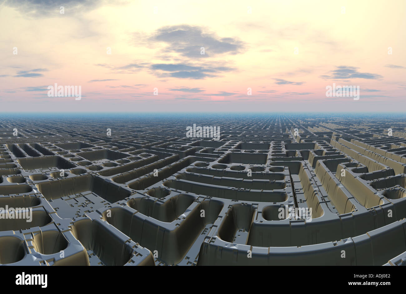 Maze City at sunset 3d computer generated sci fi world - Stock Image