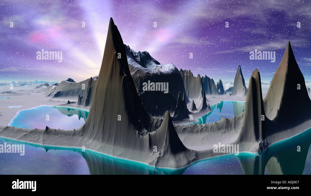 Island with tall mountains with purple sky 3d computer generated sci fi world - Stock Image