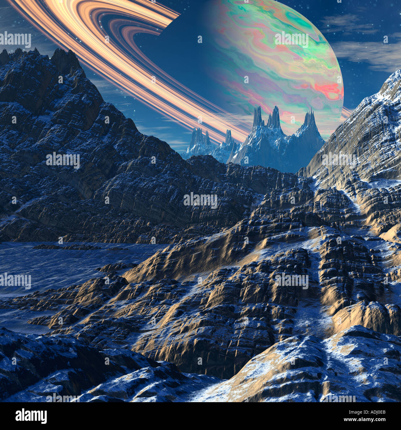 Saturn with rings rising over rocky moon 3d computer generated sci fi world Stock Photo