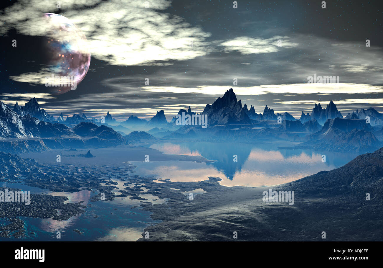 Lake among spikey mountains at sunset 3d computer generated sci fi world - Stock Image