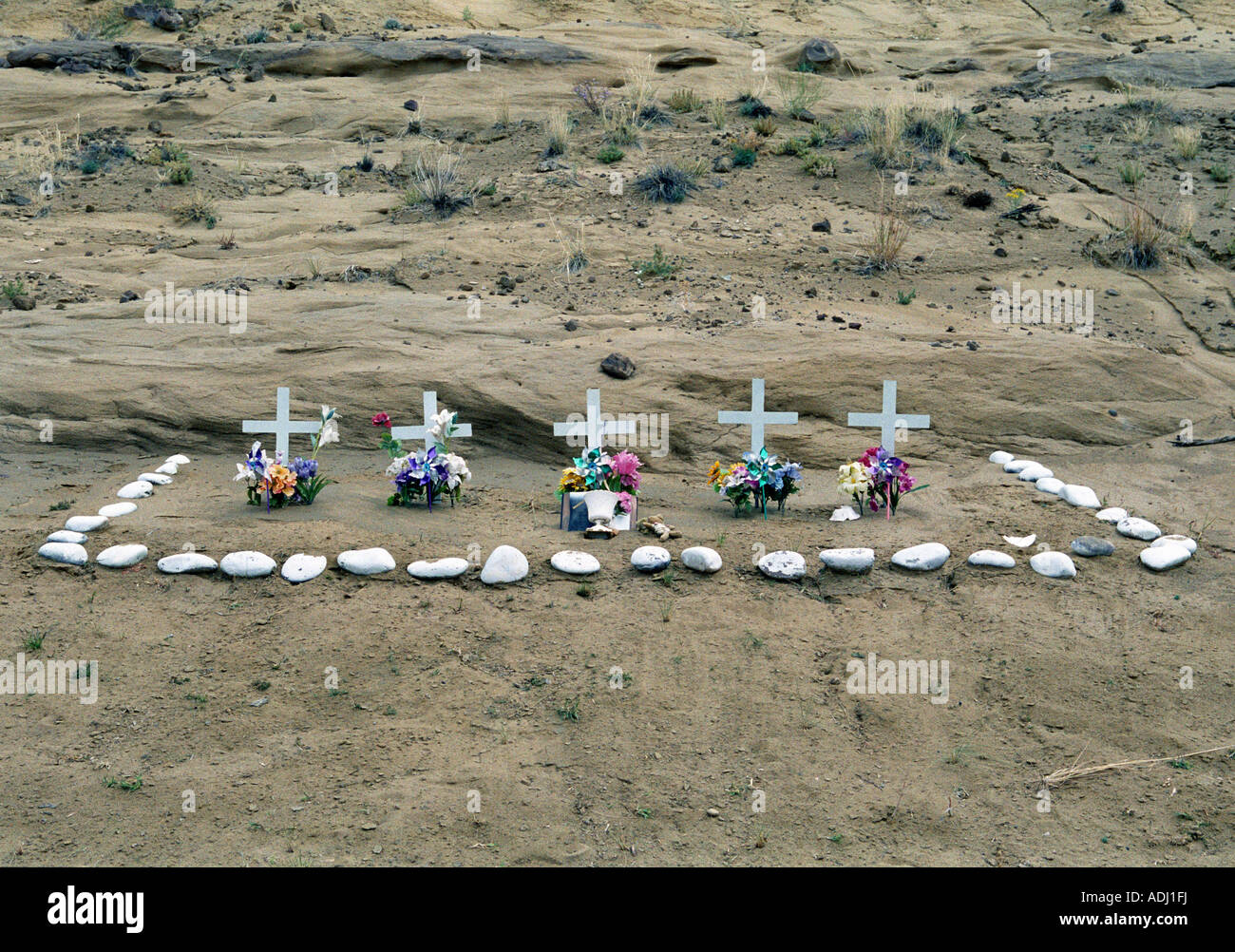 Road side memorial for a family killed in a car accident in northern New Mexico USA - Stock Image
