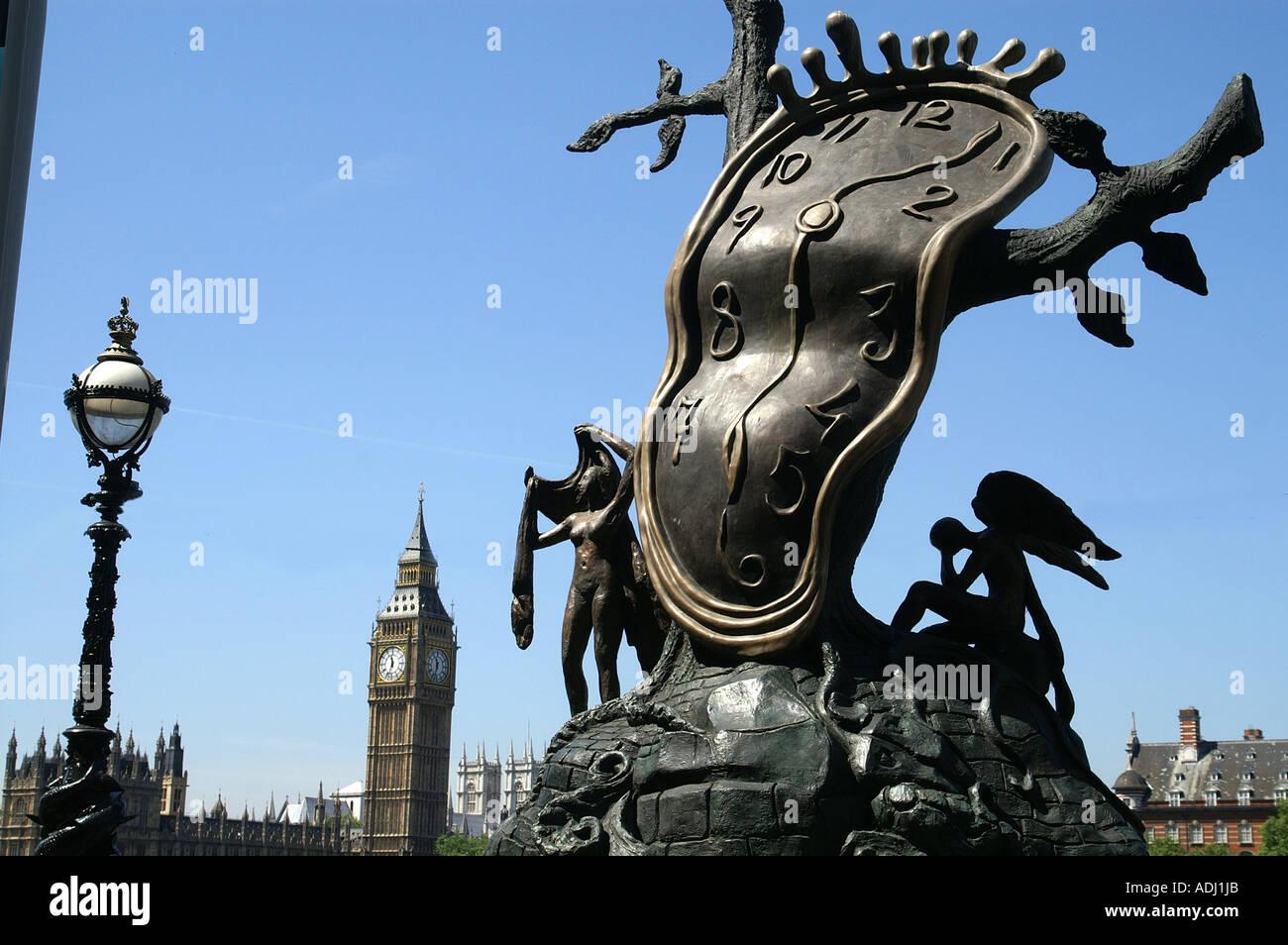 Salvador Dali artwork bronze sculpture next to river Thames London - Stock Image