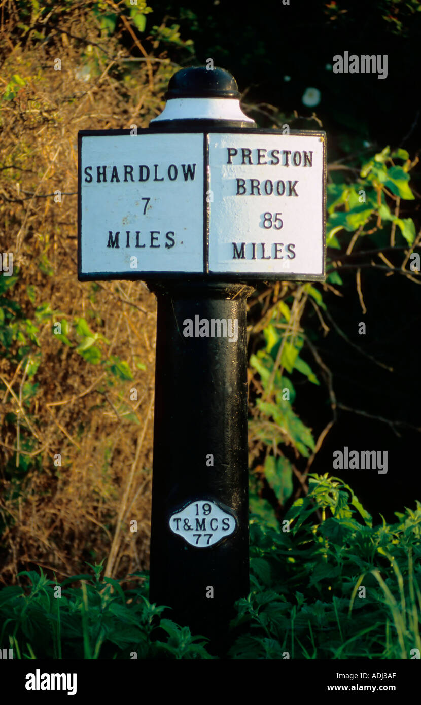 Milepost on the Trent Mersey Canal - Stock Image