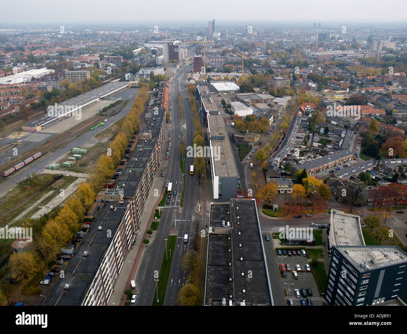 Tilburg a medium sized Dutch city seen from the sky looking towards the city centre - Stock Image