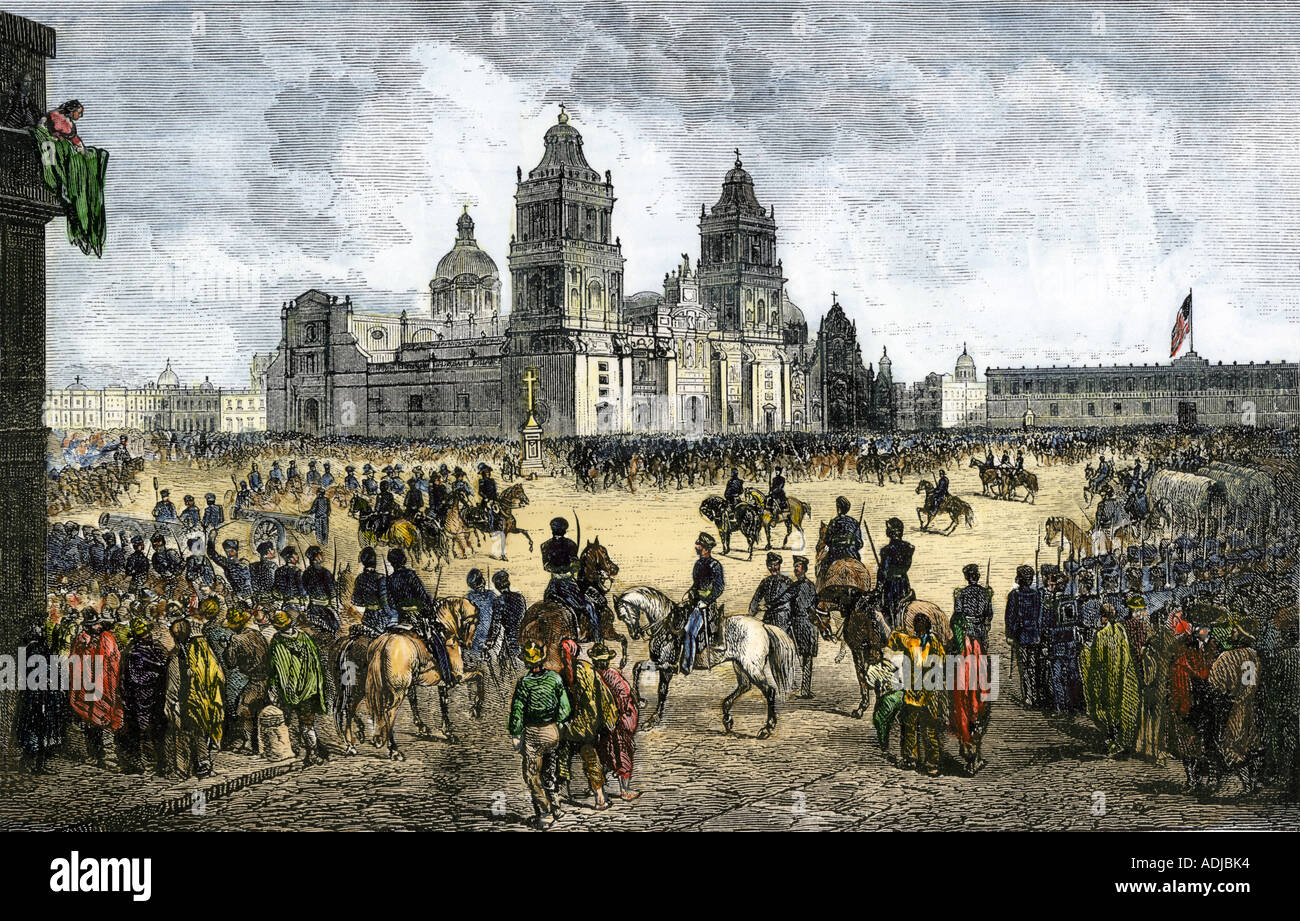 General Winfield Scott leads US forces into Mexico City to end the US Mexican War 1847. Hand-colored woodcut - Stock Image