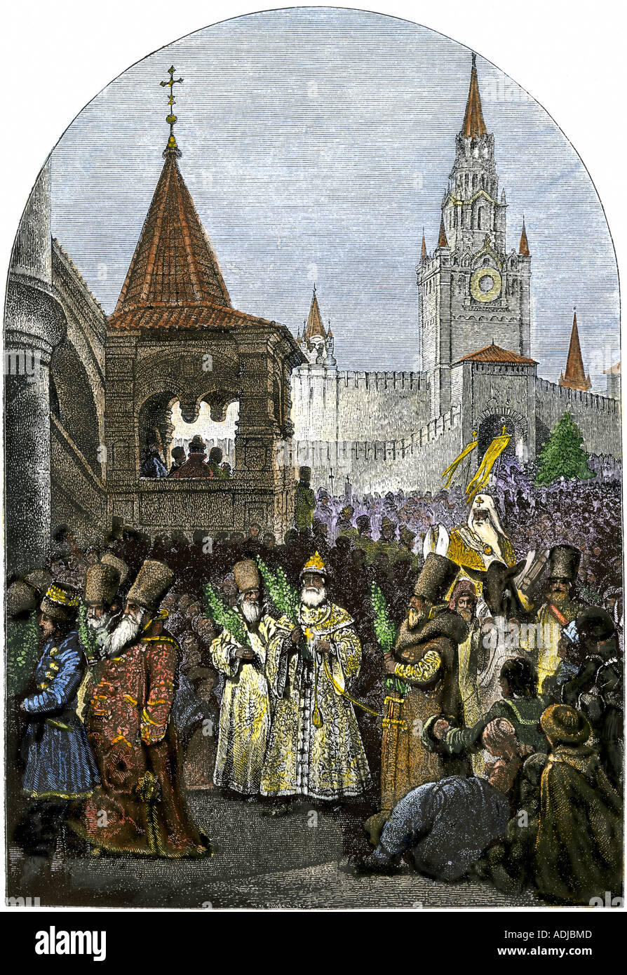 Religious procession in Moscow during the reign of Tsar Ivan IV the Terrible 1500s. Hand-colored woodcut - Stock Image