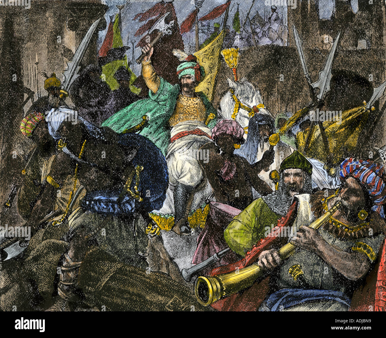 Victorious Turks entering Constantinople making it the Ottoman Empire capital 1453. Hand-colored woodcut - Stock Image
