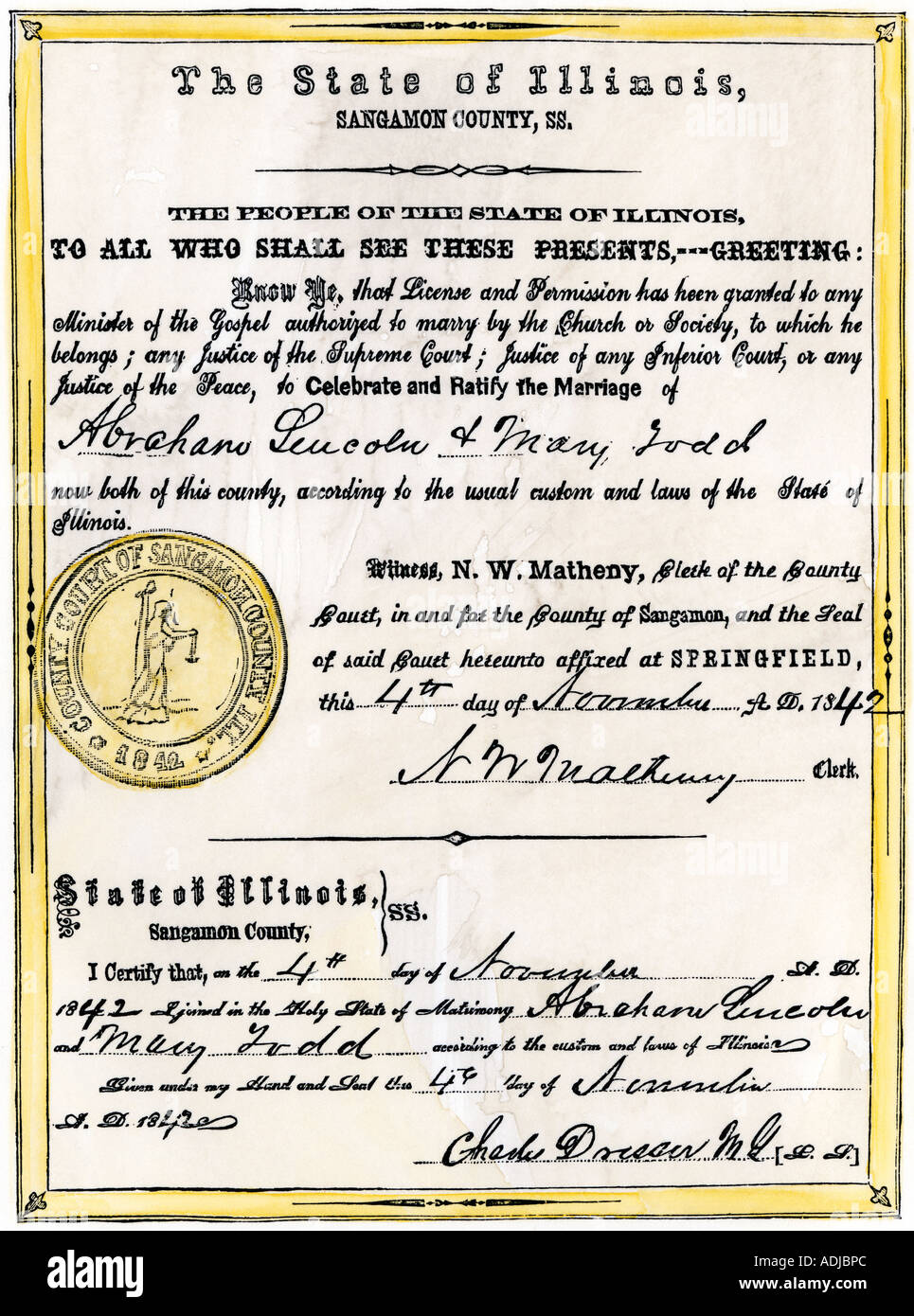 Marriage certificate of Abraham Lincoln and Mary Todd 1842. Hand-colored woodcut - Stock Image