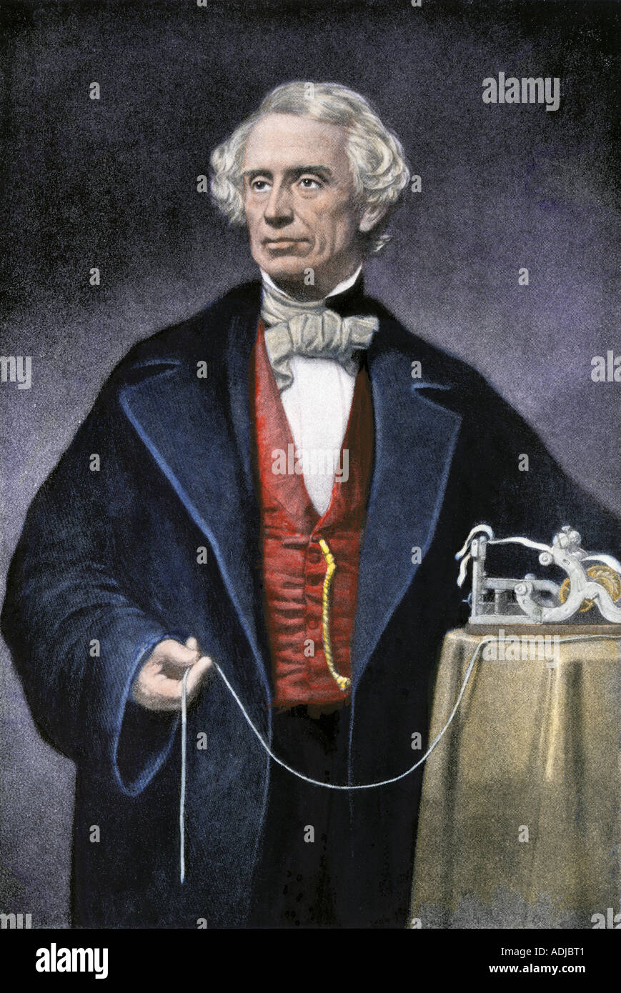 Samuel Morse with his invention the telegraph - Stock Image