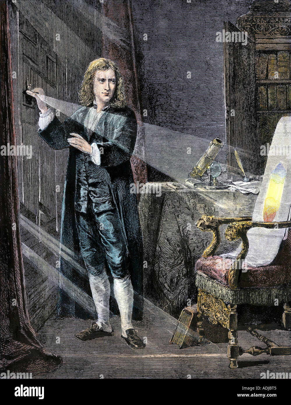 Sir Isaac Newton analyzing the colors in a ray of light. Hand-colored woodcut - Stock Image