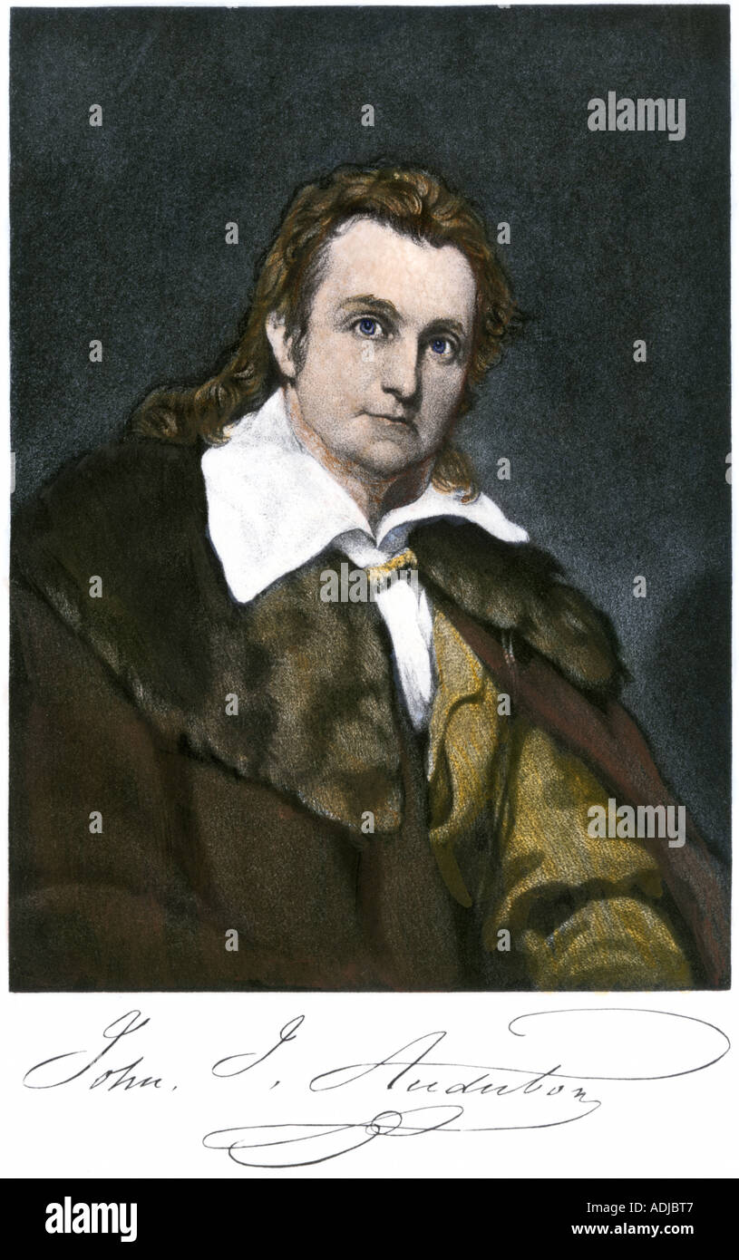 John James Audubon with his autograph. Hand-colored engraving - Stock Image