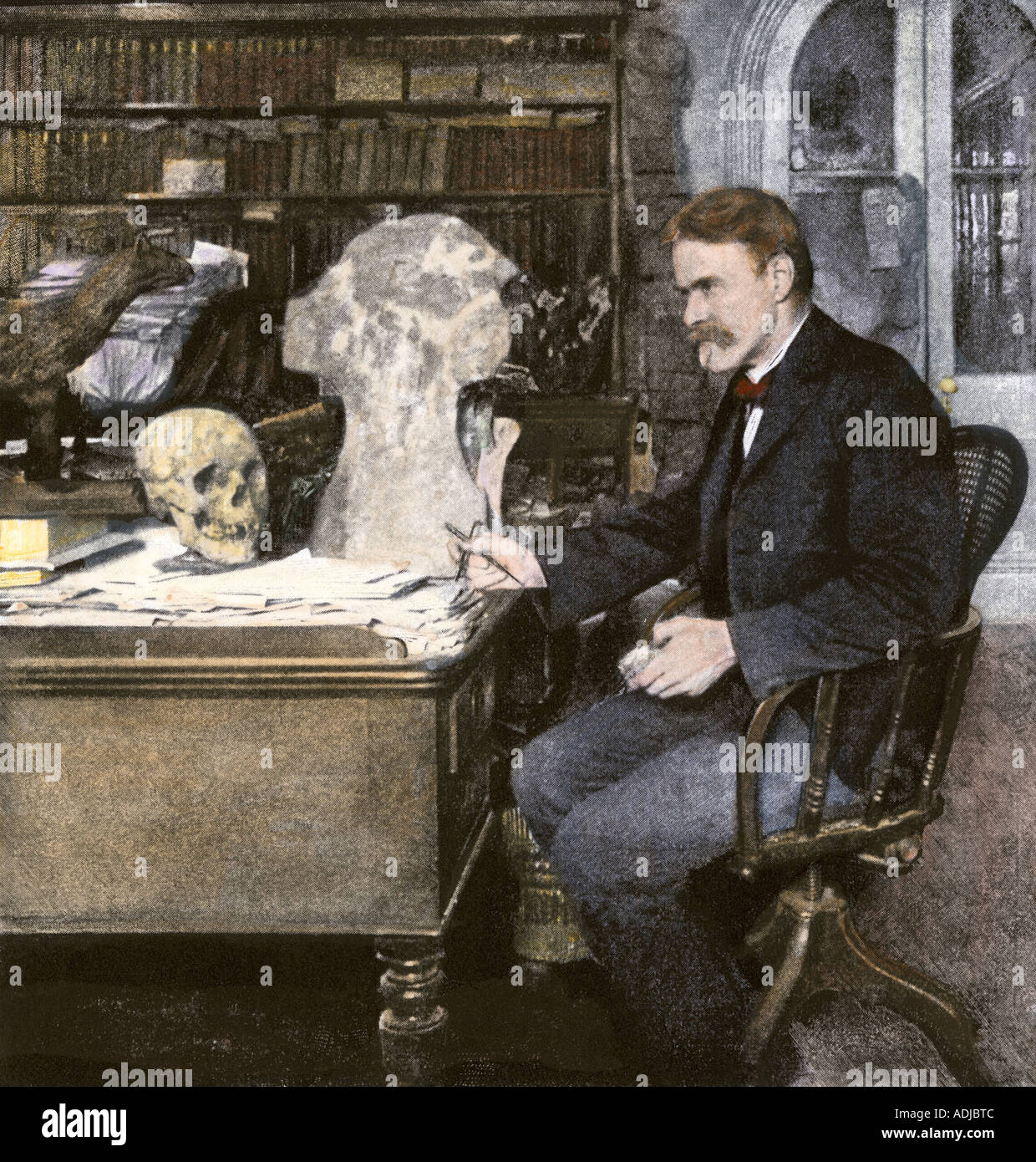 Professor Edward Drinker Cope working at his desk 1890s. Hand-colored halftone of a photograph - Stock Image