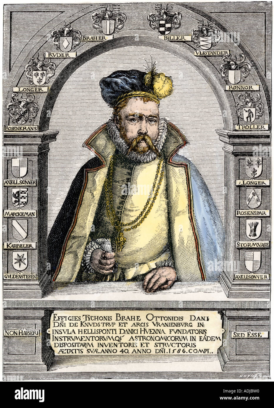 Tycho Brahe portrait in 1586. Hand-colored woodcut - Stock Image