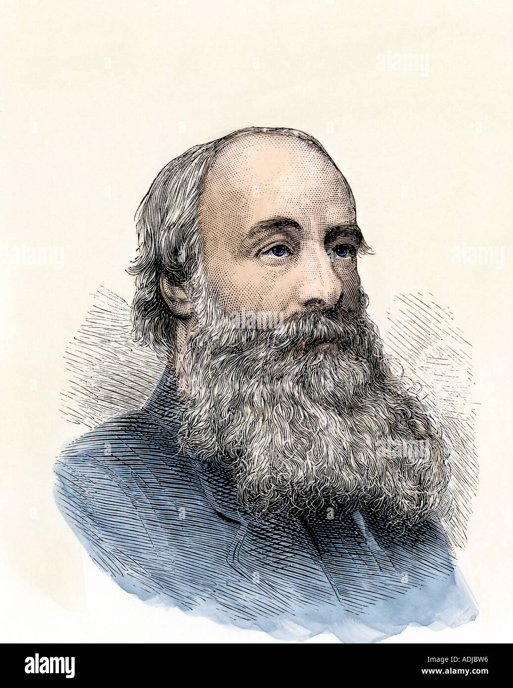 Physicist James Prescott Joule. Hand-colored woodcut - Stock Image