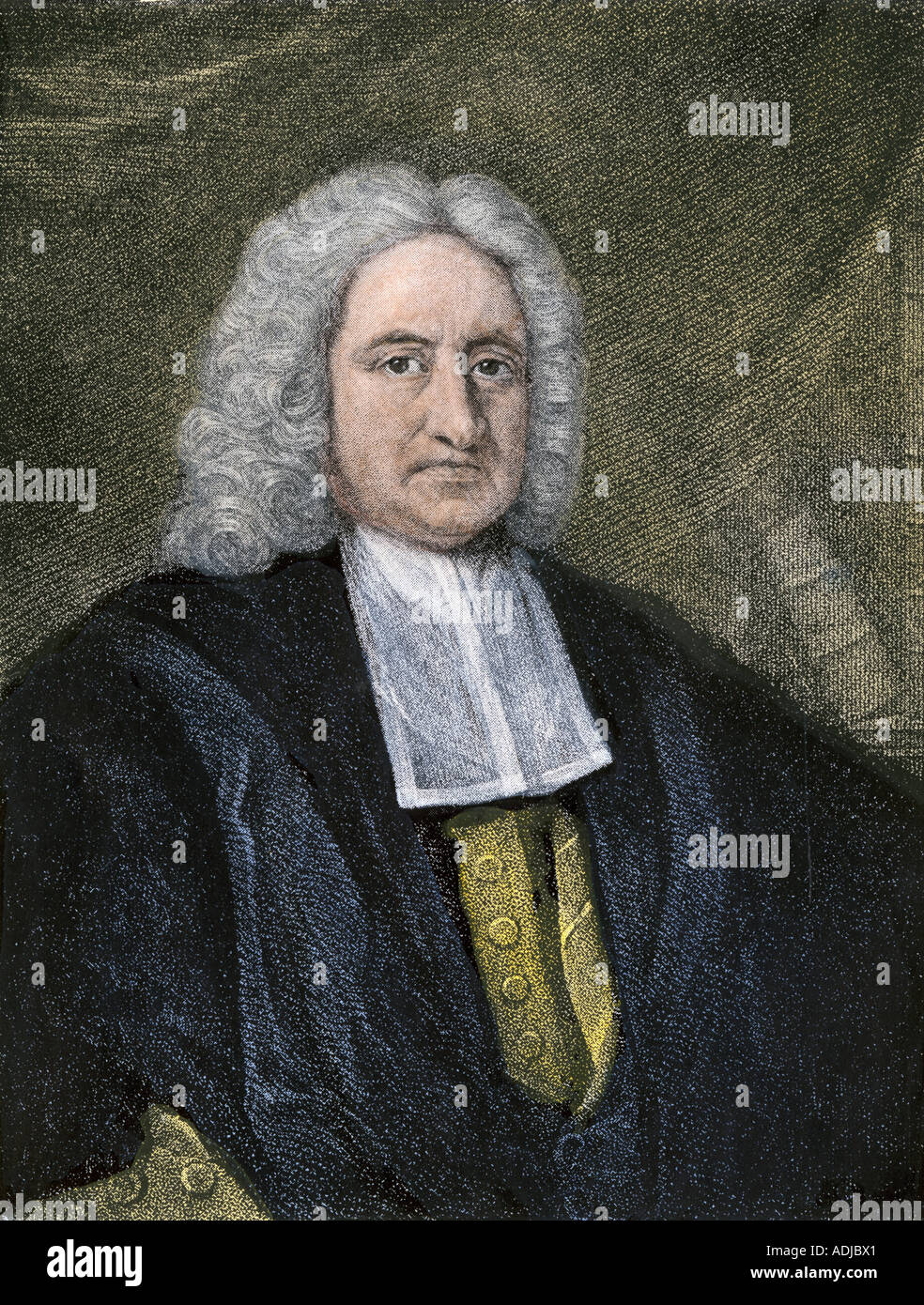 Sir Edmond Halley English astronomer. Hand-colored woodcut - Stock Image