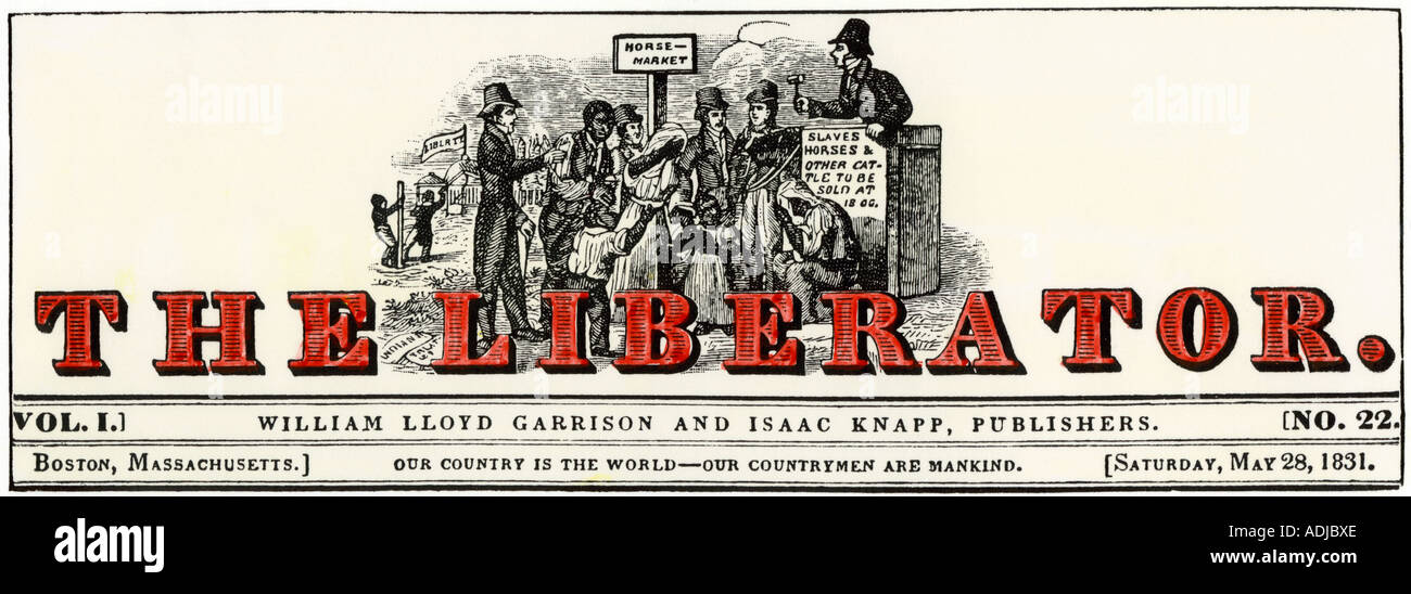 Masthead of 1831 The Liberator abolitionist newspaper published by William Lloyd Garrison. Hand-colored woodcut - Stock Image