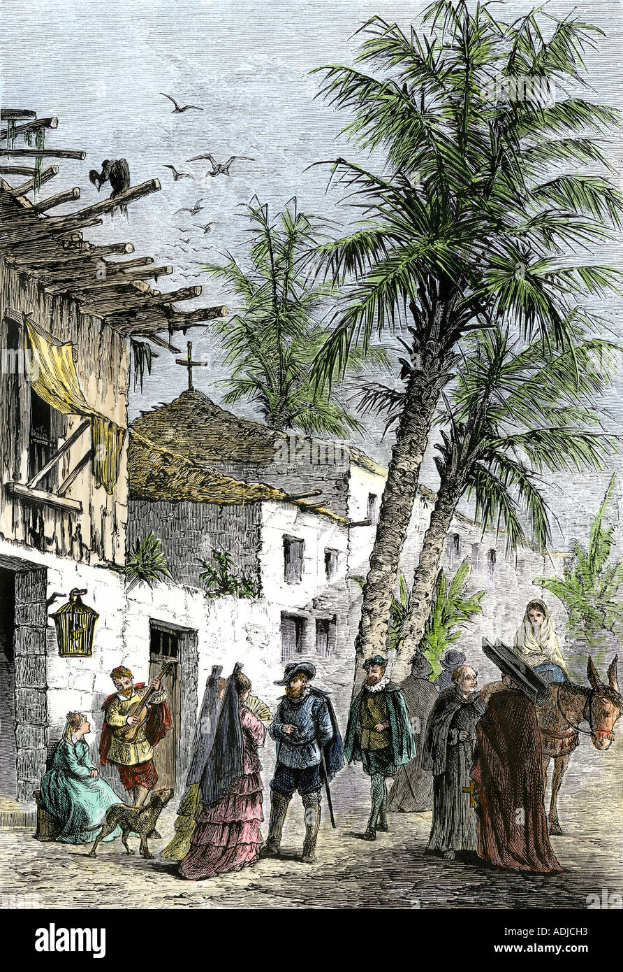 Street scene in Saint Augustine Florida when part of New Spain. Hand-colored woodcut - Stock Image