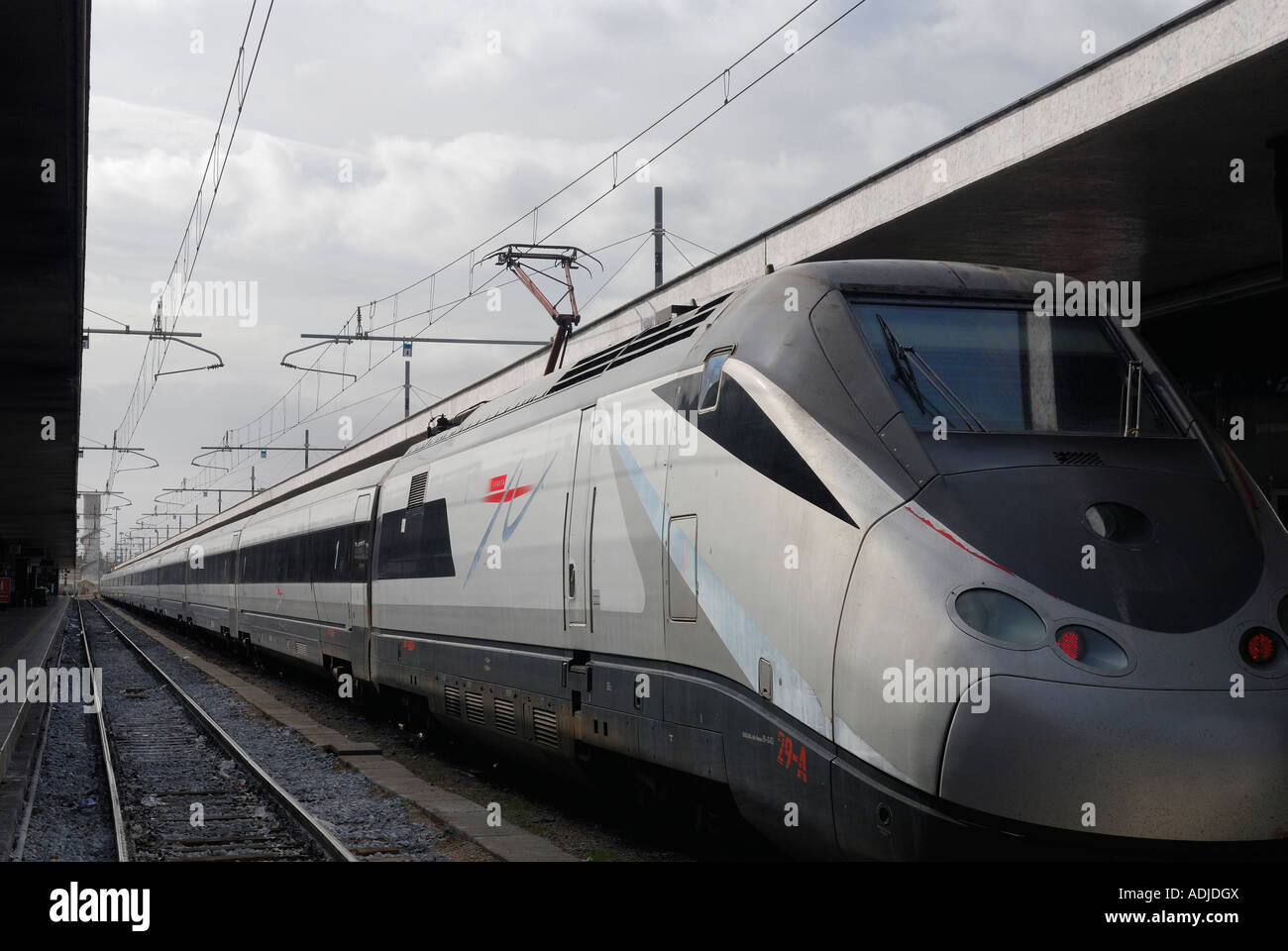 High speed electric train in Termini Station Rome Stock Photo