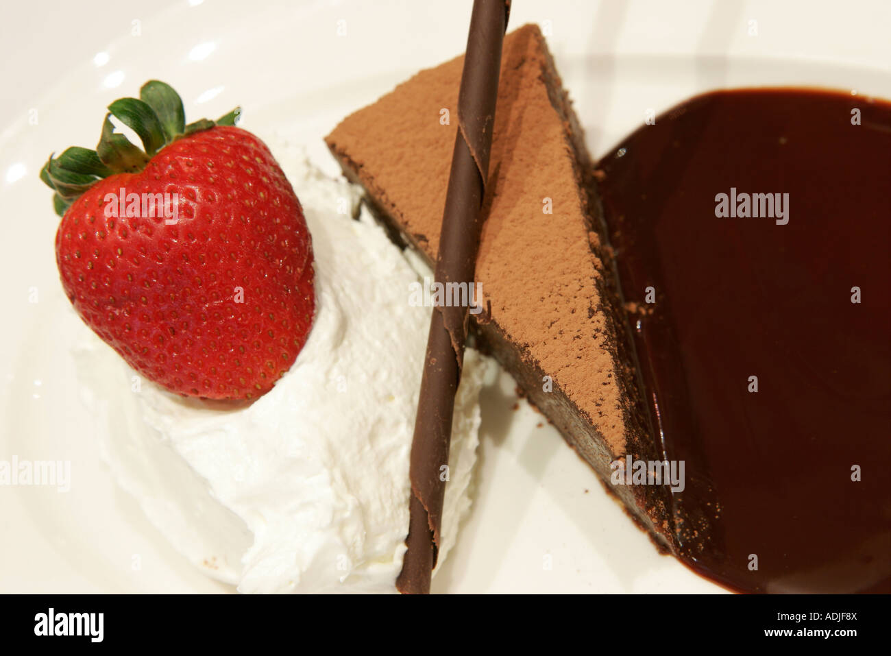 Virginia Leesburg King Street Lightfoot Restaurant mocha yaya flowerless chocolate cake dining food dessert - Stock Image