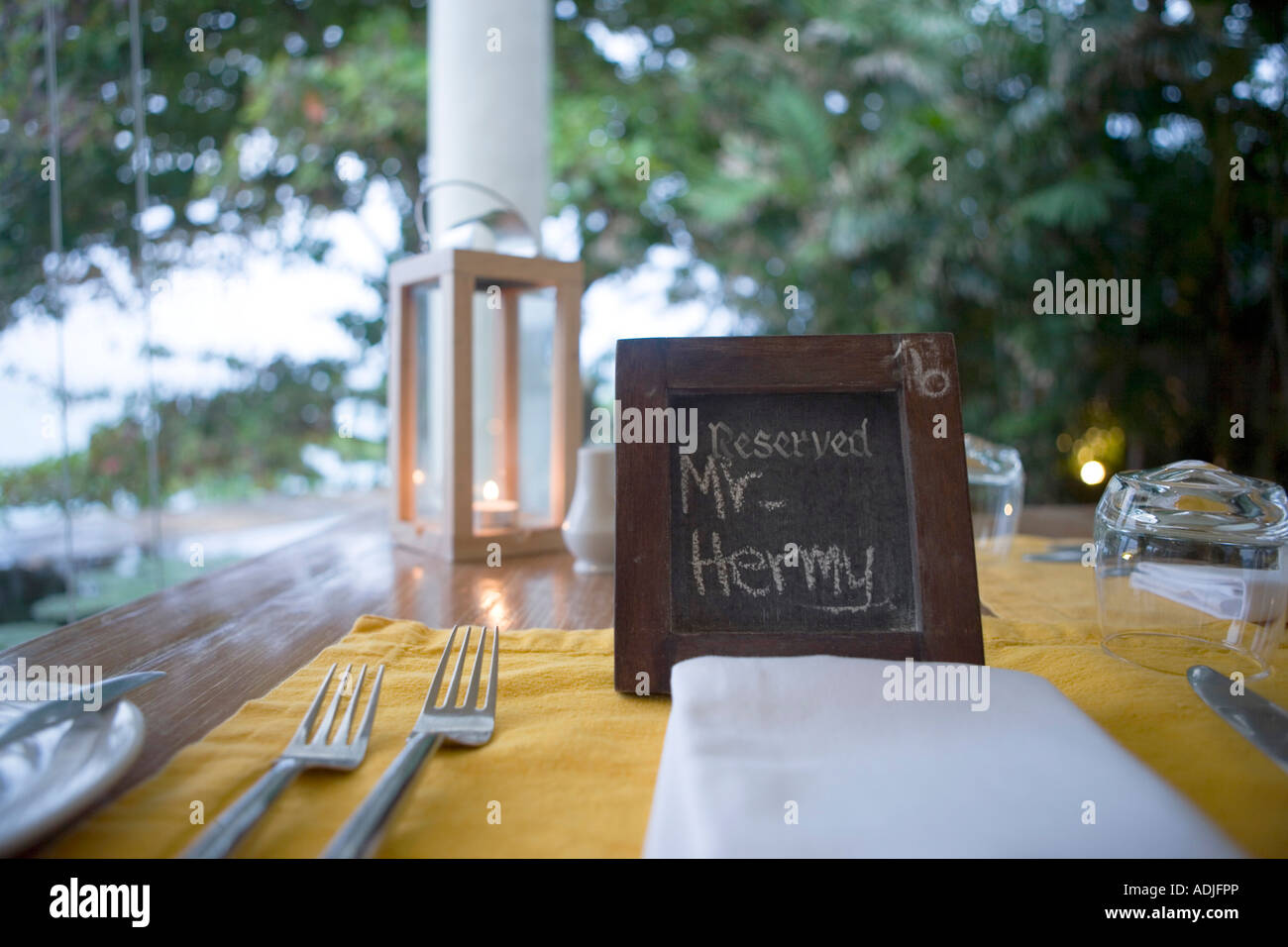 hotel resort tables in a restaurant - Stock Image