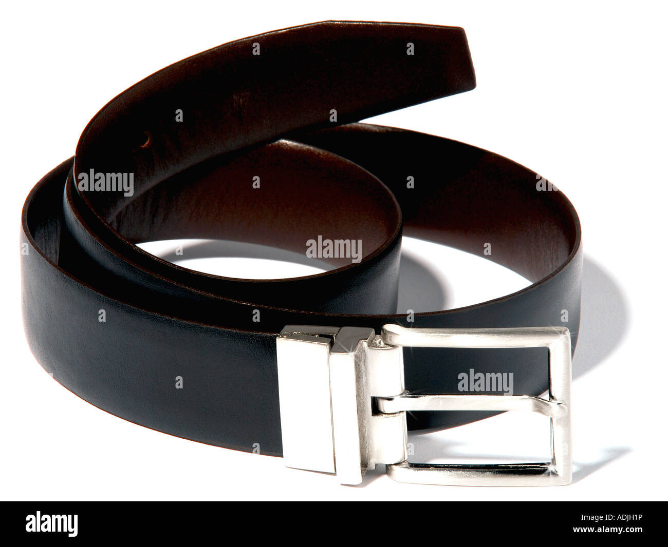 A mans two tone black and brown belt. Picture by Paddy McGuinness paddymcguinness - Stock Image