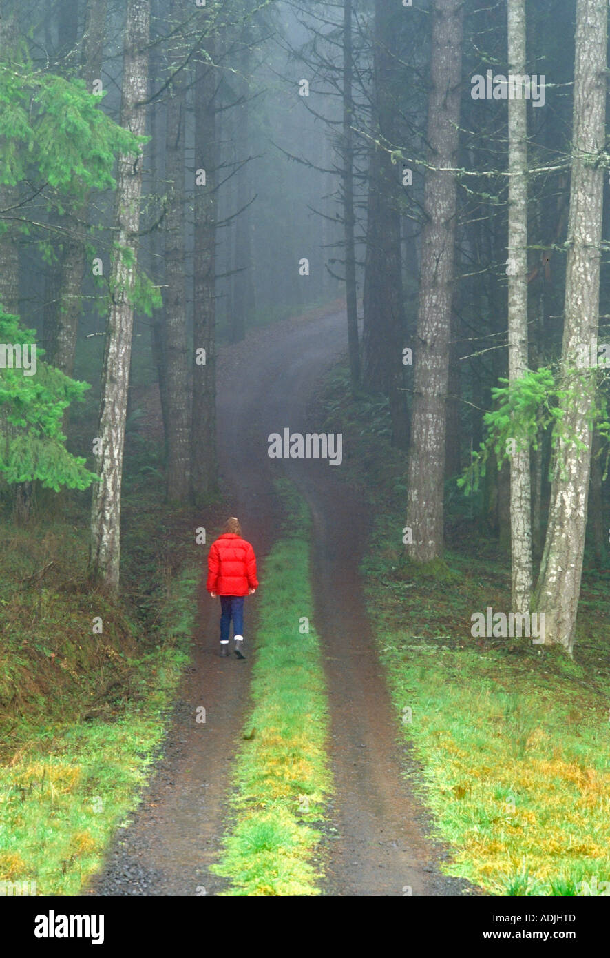 Walker on fog covered road Near Monroe Oregon - Stock Image