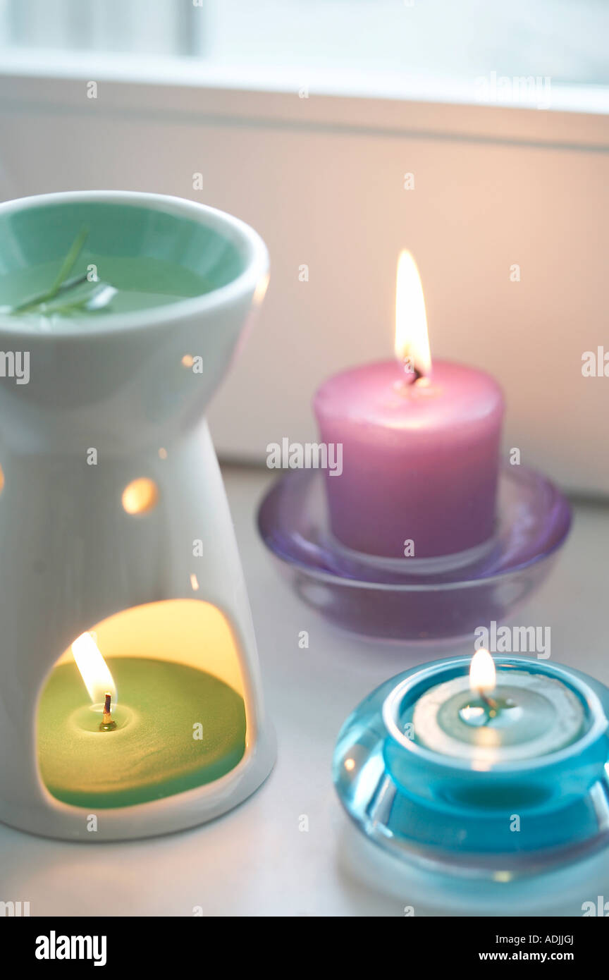 aroma therapy aroma oil and incensed candle - Stock Image
