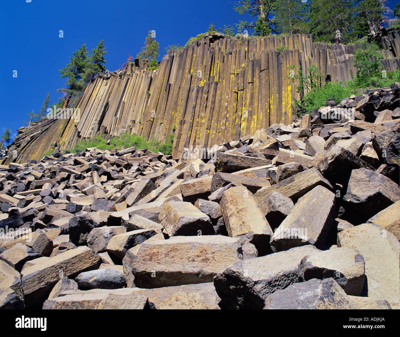 Columnar jointing at Devil s Postpile National Monument California - Stock Image