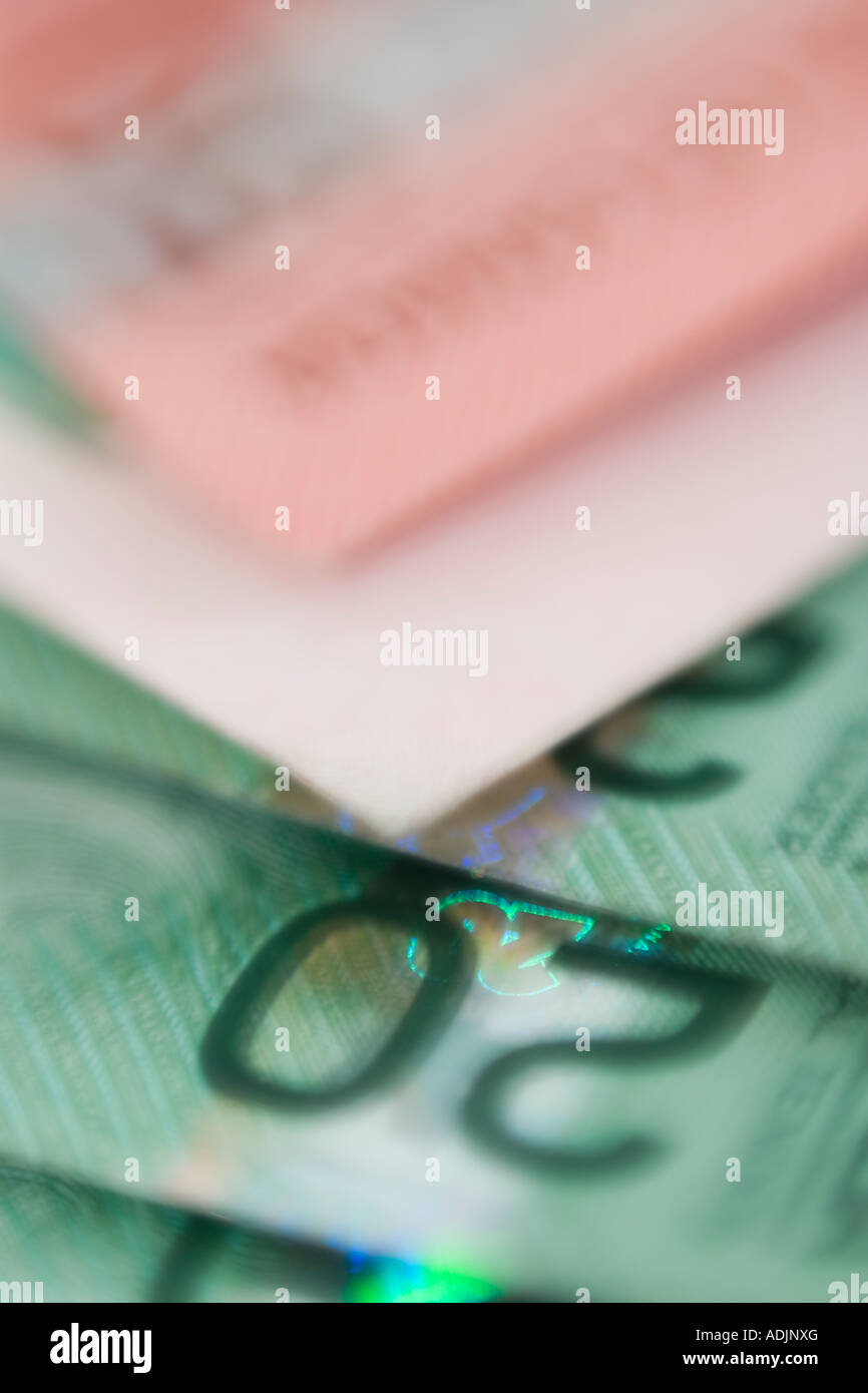 Canadian twenty & fifty dollar bills currency - Stock Image