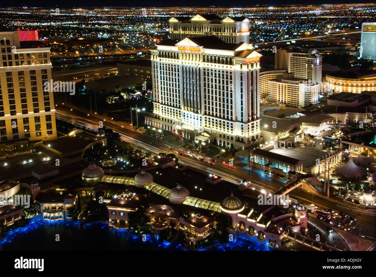 USA Nevada Las Vegas Caesers Palace Casino on The Strip at night Stock Photo